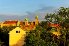 Wawel Royal Castle over the city Royalty Free Stock Photography