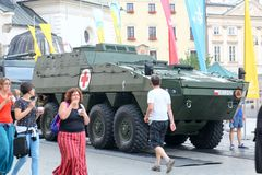 KRAKOW, POLAND - 2016: medical armored personnel carrier on the stock images