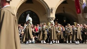 KRAKOW, POLAND -  Military Band on main square of Krakow during annual Polish national stock video