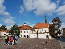 Krakow, Poland - 09.13.2017: Morning town after the rain. Bright sunny day. Castle of polish kings royalty free stock images