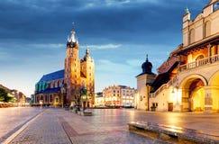 Krakow, Poland at night Stock Photography
