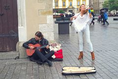 Street musicians in Krakow stock photos