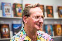 Krakow, Poland - October 24, 2015: Wojciech Cejrowski signing hi. S books on 19th International Book Fair in Krakow royalty free stock image