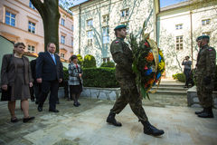 KRAKOW, POLAND - Officials at ceremony of laying flowers to the monument to Hugo Kollataj Royalty Free Stock Images