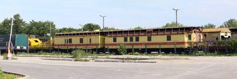 Krakow, Poland. The old cars on the cargo railway station Stock Photos