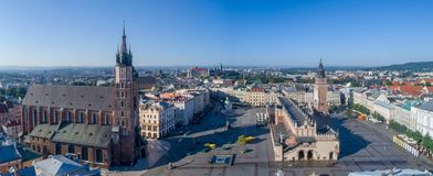 Krakow, Poland. Old city wide panorama with all main monuments. Aerial panorama of Krakow old city, Poland. Main Market Square Rynek, old cloth hall Sukiennice Royalty Free Stock Photo
