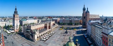 Krakow, Poland. Old city wide panorama with main monuments. Wide panorama of Krakow old city in Poland with Main Market Square Rynek, old cloth hall Sukiennice Stock Photos