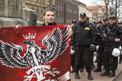 KRAKOW, POLAND - participants IV Procession Katyn in memory of all murdered in Apr 1940 Stock Photography