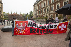 KRAKOW, POLAND - Participants IV Procession Katyn in memory of all murdered in Apr 1940 Stock Image