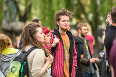 KRAKOW, POLAND -  participants of the March For Cannabis Liberation. Royalty Free Stock Photos