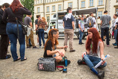 KRAKOW, POLAND - participants of the March For Cannabis Liberation. Royalty Free Stock Photography