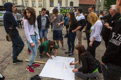 KRAKOW, POLAND -  participants of the March For Cannabis Liberation. Stock Photo