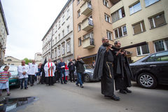 KRAKOW, POLAND - participants of the Way of the Cross on Good Friday celebrated at the historic center Royalty Free Stock Images