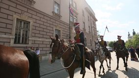 KRAKOW, POLAND - Polish cavalry during annual of Polish national and public holiday stock video