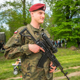 KRAKOW, POLAND -  Polish soldier during demonstration of the military and rescue equipment Royalty Free Stock Photo