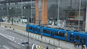 Krakow, Poland Public Transportation modern blue tram. stock video