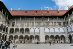 Krakow, Poland - September 23, 2018: Panoramic vision of the Courtyard of the Representative Royal Cameras inside the. Panoramic vision of the Courtyard of the stock image