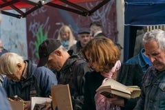 Krakow, Poland - September 21, 2019: Poles looking for Cheap Books at Krakow`s flea market royalty free stock photography