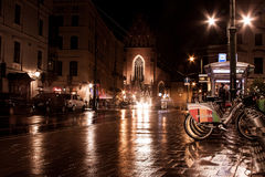 KRAKOW, POLAND - SEPTEMBER 18, 2015: Rent a bike in Krakow. Royalty Free Stock Photo