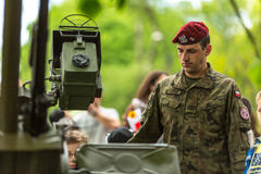 KRAKOW, POLAND - soldier during demonstration of the military and rescue equipment Stock Photo