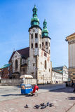 Krakow - Poland - St. Andrew Church in Krakow. Krakow - Poland - April 22. Man is selling bagels near the St Andrew Church.. one of the oldest monuments in Stock Photo