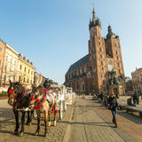 KRAKOW, POLAND - St. Mary's Church in historical center of Krakow on Main Square Royalty Free Stock Image