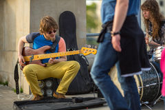 KRAKOW, POLAND - street musicians in the center of city. Royalty Free Stock Photos