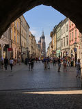 Krakow, Poland Old Town Street View and Basilica stock images