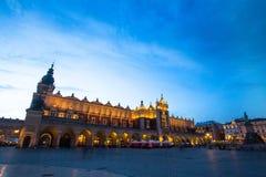 KRAKOW, POLAND -  Sukiennice on Rynek Glowny (Market Square) in night time. Stock Photos