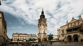 Krakow, Poland. Town Hall Tower In Main Square In Cloudy Summer Day. Famous Landmark. Unesco World Heritage Site stock footage