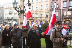 KRAKOW, POLAND -  Unidentified participants during protest near Cracow Opera Stock Image