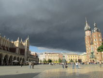 Krakow - Poland. A view of the central market of Krakow before the storm starts Stock Image