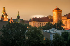 Krakow, Poland: Wawel Castle in the sunset Royalty Free Stock Photos