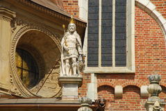 Krakow, Poland. Wawel cathedral detail. Wawel castle and cathedral architectural complex, Krakow, Poland. Statue detail Stock Photography