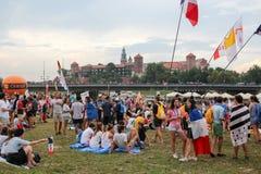 KRAKOW, POLAND - 2016 - World Youth Day 2016, A crowd of pilgri royalty free stock image
