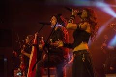 Krakow Polen December 20 2017, Eluveitie i konsert Arkivbild