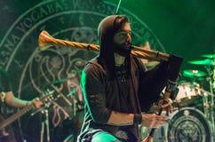 Krakow Polen December 20 2017, Eluveitie i konsert Royaltyfri Fotografi
