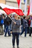 KRAKOW POLEN - nationsflaggadag av Republiken Polen Arkivfoton