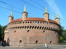 KRAKOW, POLSKA gotyka barbakan Krakows atrakcja turystyczna obraz stock