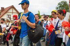 KRAKOW POLSKA, JUL, - 31, 2016: Niezidentyfikowani uczestnicy Worl Obraz Royalty Free