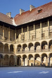 Krakow - Royal Castle - Wawel Hill - Poland. The inner courtyard of the Royal Castle on Wawel Hill in Krakow in Poland stock images