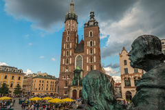 Krakow, Runok market square, and cathedral in Poland Royalty Free Stock Images