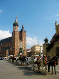 Krakow, Runok market square, St. Mary's Basilica Royalty Free Stock Photos