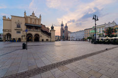 Krakow Rynek Glowny - The main square. Poland. Europe in the early morning Royalty Free Stock Photos