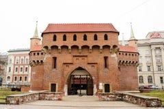 Krakow`s Barbican city gate, Poland Royalty Free Stock Image