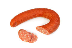 Krakow sausage on white Royalty Free Stock Photo