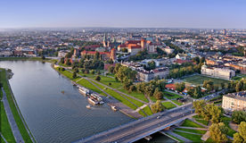 Krakow Skyline. Aerial Panorama. Cracow panorama with Wawel castle and Vistula river. Aerial view at sunset stock photo