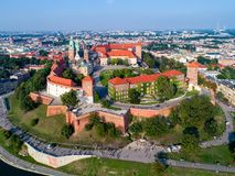 Krakow skyline, Poland, with Wawel Hill, Cathedral and castle Royalty Free Stock Photos