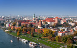Krakow Skyline with Zamek Wawel Castle in Fall. Panorama of Cracow, Poland, with royal Zamek Wawel castle and Vistula river in autumn. Aerial view from thr Royalty Free Stock Photo