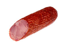 Krakow smoked sausage isolated. Royalty Free Stock Photography